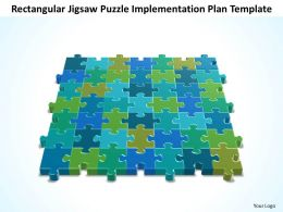 Business PowerPoint Templates rectangular jigsaw Problem Solving Puzzle Piece implementation plan Sales PPT Slides