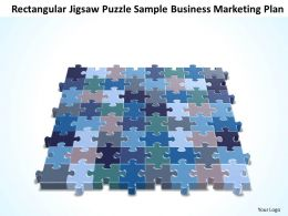 Business PowerPoint Templates rectangular jigsaw Puzzle sample marketing plan Sales PPT Slides