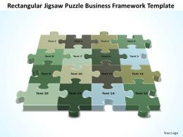 Business PowerPoint Templates rectangular jigsaw Strategy Puzzle framework Sales PPT Slides