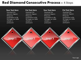 Business PowerPoint Templates red diamond consecutive process 4 steps Sales PPT Slides