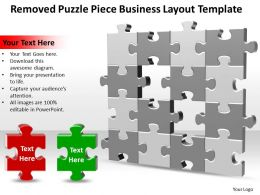 Business PowerPoint Templates removed Puzzle piece layout Sales PPT Slides