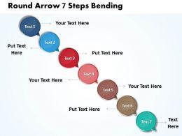 Business PowerPoint Templates round arrow 7 steps bending Sales PPT Slides