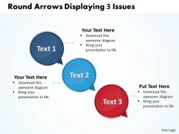Business PowerPoint Templates round arrows layouts displaying 3 issues Sales PPT Slides