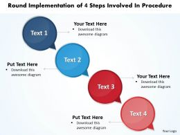 Business PowerPoint Templates round implementation of 4 steps involved procedure Sales PPT Slides
