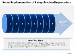 Business PowerPoint Templates round implementation of 8 steps involved procedure Sales PPT Slides
