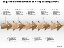 Business PowerPoint Templates sequential demonstration of 9 stages using arrows Sales PPT Slides
