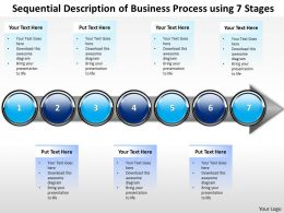 Business PowerPoint Templates sequential description of process using 7 stages Sales PPT Slides