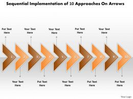 Business PowerPoint Templates sequential implementation of 10 approaches arrows Sales PPT Slides