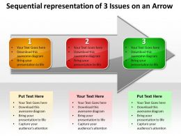 Business PowerPoint Templates sequential representation of 3 issues an arrow Sales PPT Slides