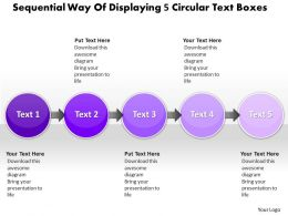 Business PowerPoint Templates sequential way of displaying 5 circular text boxes Sales PPT Slides