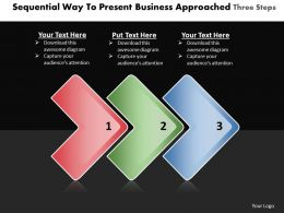 Business PowerPoint Templates sequential way to present approaches three steps Sales PPT Slides