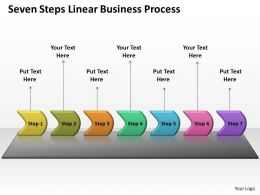 Business PowerPoint Templates seven steps linear process Sales PPT Slides