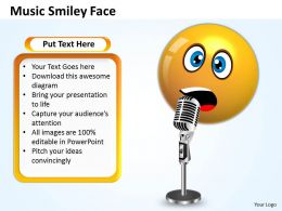 Business PowerPoint Templates singing smiley emoticon with mike Sales PPT Slides