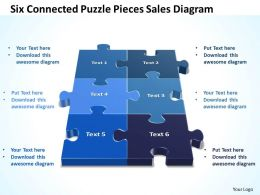 Business PowerPoint Templates six connected Puzzle pieces sales diagram PPT Slides
