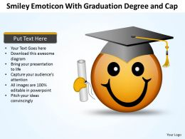 Business PowerPoint Templates smiley emoticon with graduation degree and cap Sales PPT Slides