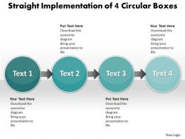 Business PowerPoint Templates straight implementation of 4 circular boxes Sales PPT Slides