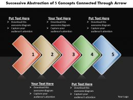 Business PowerPoint Templates successive abstraction of 5 concepts connected through arrow Sales PPT Slides