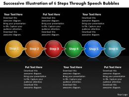 Business PowerPoint Templates successive illustration of 6 steps through speech bubbles Sales PPT Slides