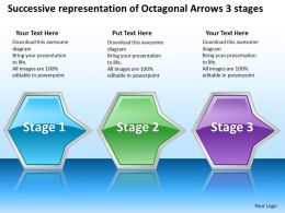 Business PowerPoint Templates successive representation of octagonal arrows 3 stages Sales PPT Slides