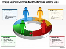 Business PowerPoint Templates symbol men standing on financial colorful circle Sales PPT Slides