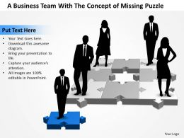 Business PowerPoint Templates team with the concept of missing puzzle Sales PPT Slides