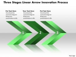 Business PowerPoint Templates three stages linear arrows innovation process Sales PPT Slides