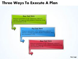 Business PowerPoint Templates three ways to execute plan Sales PPT Slides 3 stages
