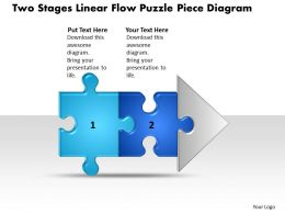 Business PowerPoint Templates two stages linear flow puzzle piece diagram Sales PPT Slides