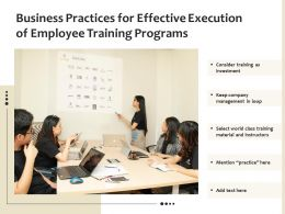 Business Practices For Effective Execution Of Employee Training Programs