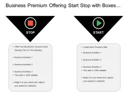 Business Premium Offering Start Stop With Boxes And Icons