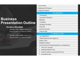 Business Presentation Outline PPT Slide Examples