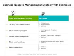 Business Pressure Management Strategy With Examples