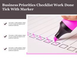 Business Priorities Checklist Work Done Tick With Marker