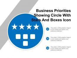 Business Priorities Showing Circle With Stars And Boxes Icon