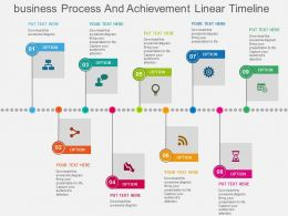 Business Process And Achievement Linear Timeline Flat Powerpoint Design