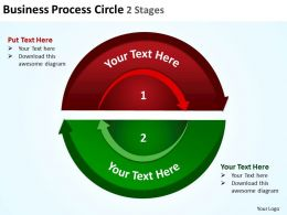 business process circle showing interconnected ideas 2 Stages halves powerpoint templates 0712