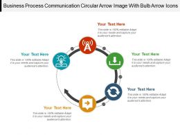 Business Process Communication Circular Arrow Image With Bulb Arrow Icons