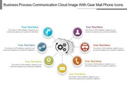 Business Process Communication Cloud Image With Gear Mail Phone Icons
