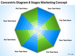 Business Process Diagram Chart Concentric 8 Stages Marketing Concept Powerpoint Templates 0522