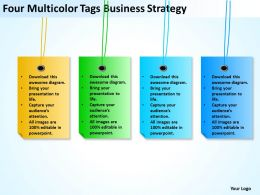 Business Process Diagram Chart Four Multicolor Tags Strategy Powerpoint Templates 0522