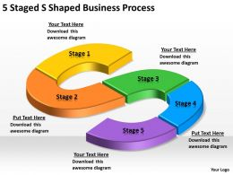 Business Process Diagram Example 5 Staged Shaped Powerpoint Templates 0515
