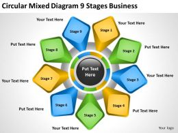 Business Process Diagram Example Circular Mixed 9 Stages Powerpoint Templates 0515