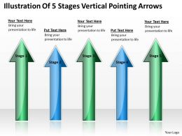 Business Process Diagram Examples Of 5 Stages Vertical Pointing Arrows Powerpoint Slides
