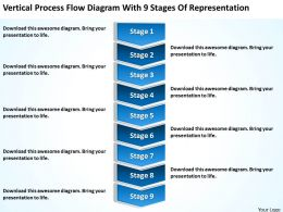 Business Process Diagram Flow With 9 Stages Of Representation Powerpoint Slides