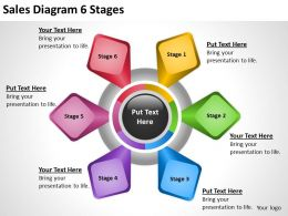 Business Process Diagram Symbols Sales 6 Stages Powerpoint Templates 0515