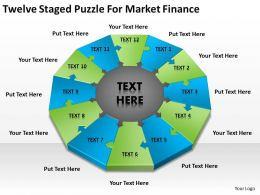 Business Process Diagram Twelve Staged Puzzle For Market Finance Powerpoint Slides 0515