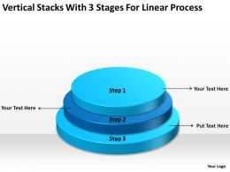 Business Process Diagram Vertical Stacks With 3 Stages For Linear Powerpoint Slides