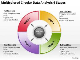 Business Process Diagram Visio Multicolored Circular Data Analysis 4 Stages Powerpoint Slides