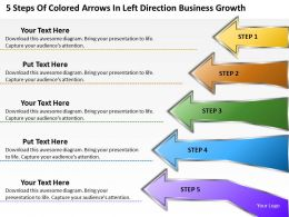 Business Process Diagrams Of Colored Arrows Left Direction Growth Powerpoint Templates