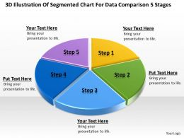 Business Process Diagrams Of Segmented Chart For Data Comparison 5 Stages Powerpoint Slides
